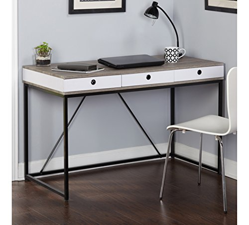 3-Drawer Computer - Writing Desk For Home Office Modern Contemporary Furniture Made With A Durable Black Metal Frame With Grey Reclaimed Wood-look Top In A Black, Grey, White Color Combinations.