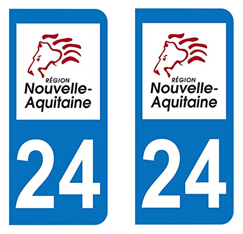 Nouvelle Aquitaine Paire Sticker immatriculation 24