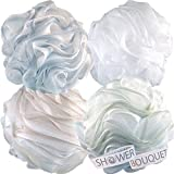 Loofah Bath Sponge XL 75g Soft Set by Shower Bouquet: 4 Pack Pastel Colors - Extra Large Mesh Pouf Scrub for Men and Women - Exfoliate with a Big Lush Lathering Cleanse & Beauty Bathing Accessories