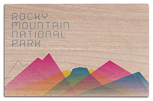 Rocky Mountain National Park, Colorado - Neon Abstract Mountain Range (12x18 Wood Wall Sign, Wall Decor Ready to Hang) Colorado Rockies Neon Sign