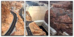 view of hoover dam in boulder city, nevada nevadas and pictures Print Painting 3 Panel Home Decoration Paintings Wall Art Framework Canvas Prints Gallery for Living Room Wall Poster Hang Framed