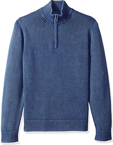 Goodthreads Men's Soft Cotton Quarter Zip Sweater, Washed Blue, Large