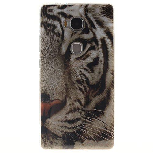 Hozor Huawei Honor 5X / Huawei GR5 Cas, Motif Peint TPU Souple En Silicone Couverture Arrière Slim Fit Antichoc Scratch Résistant Cas De Téléphone De Protection Bord Transparent Tiger