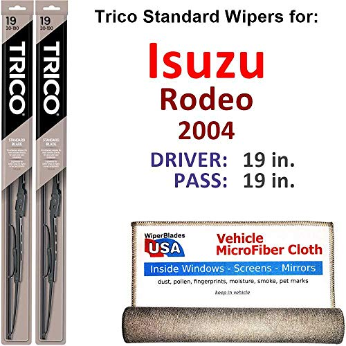 Wiper Blades for 2004 Isuzu Rodeo Driver & Passenger Trico Steel Wipers Set of 2 Bundled with Bonus MicroFiber Interior Car - Wiper Isuzu Rodeo