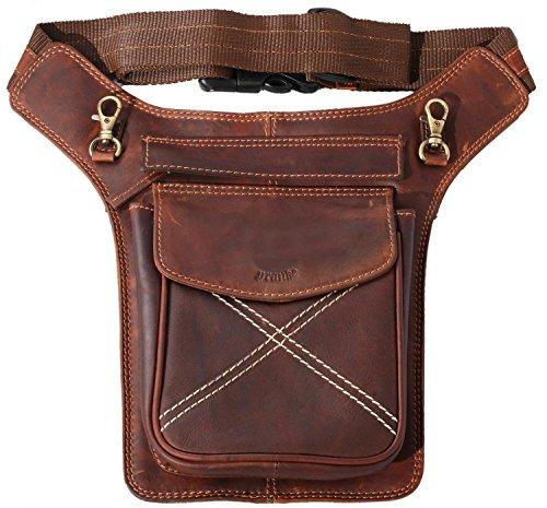 Pranke ECHT Leder Umhängetasche Schultertasche Reisetasche Bauchtasche Vintage Look