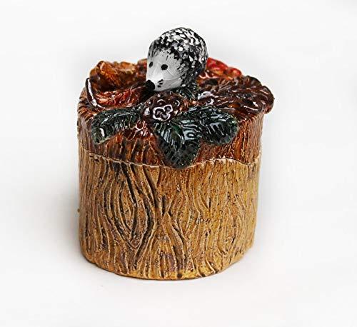 Ceramic Hedgehog Jewelry Box, woodland decor wish keeper, pottery trinket box