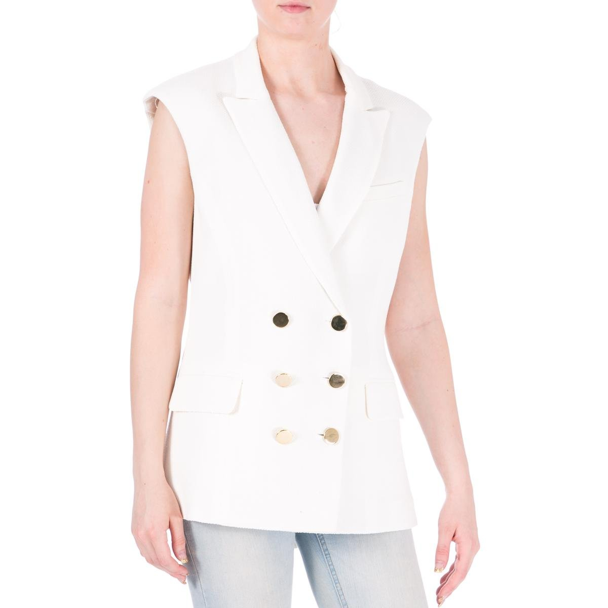 Veronica Beard Womens Textured Notch Collar Casual Vest White 6