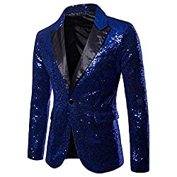 Men Solid Sequin V-Neck Party Suite