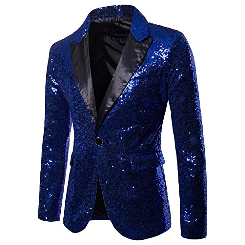 LEXUPA Men's Charm Sequin Casual One Button Fit Suit Blazer Coat Jacket Party Top (Small, Blue)