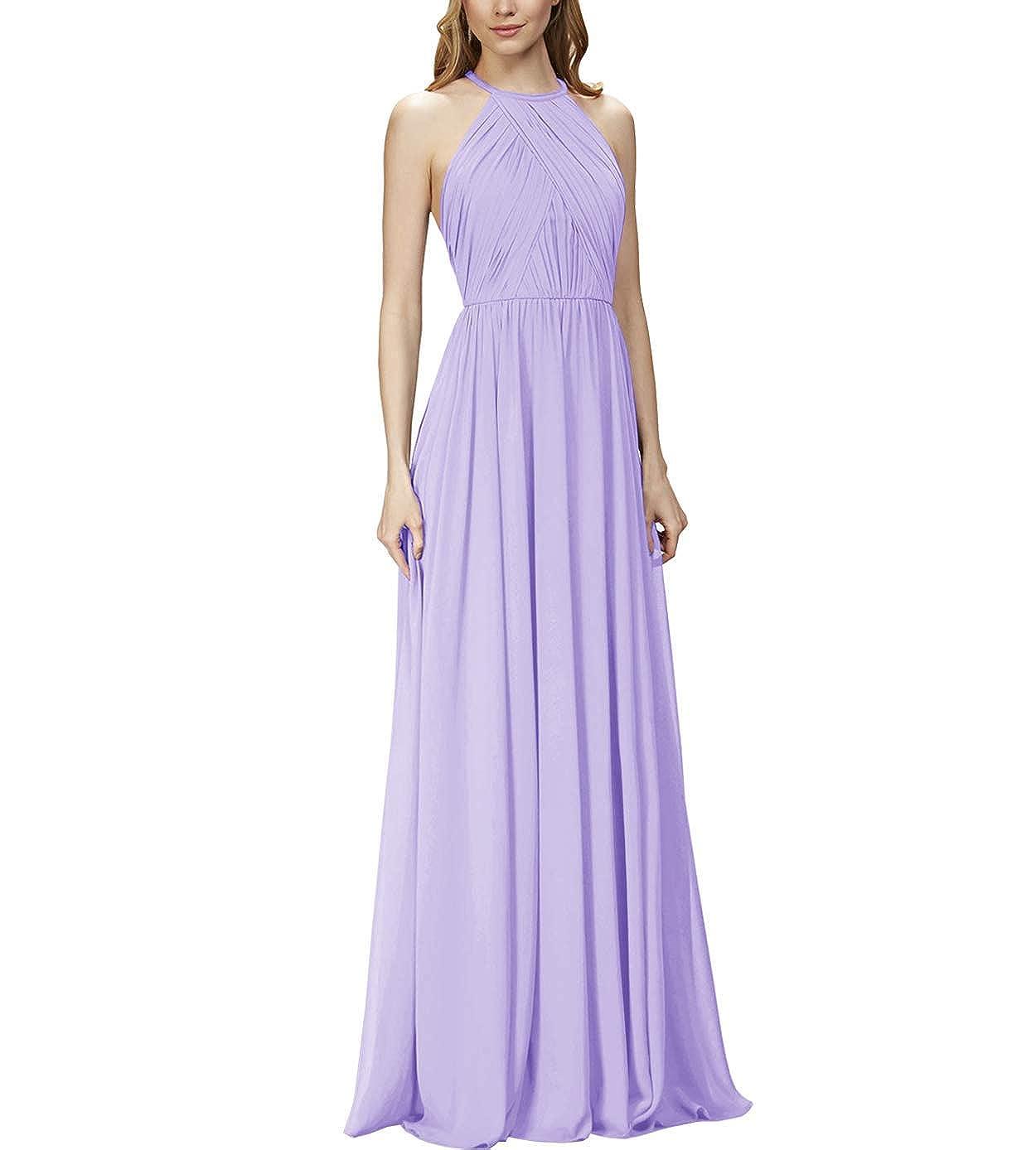 purplec NewFex Halter Long Bridesmaid Dresses 2019 Aline Ruffled Formal Women's Evening Gown
