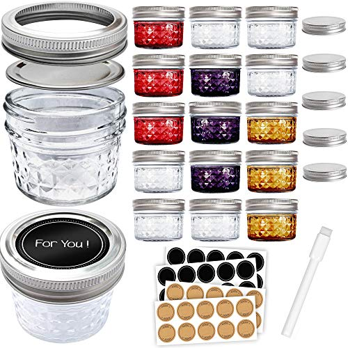Mini Mason Jars 4 oz - Small Glass Jar with Lids - 15 Pack with Labels - Clear Glass Container for your overnight oats, yogurt, spice, honey, and canning needs -