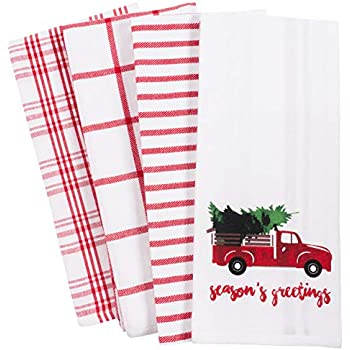 KAF Home Pantry Kitchen Holiday Dish Towel Set of 4, 100-Percent Cotton, 18 x 28-inch (Vintage Red Christmas Truck)