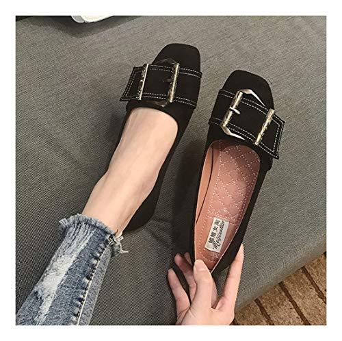 Soft Wulifang Casual Ballet De Ronda Slido Piso Wild Zapatos Negro Brown Inferior Superficial 38 WqfxqYnSaH