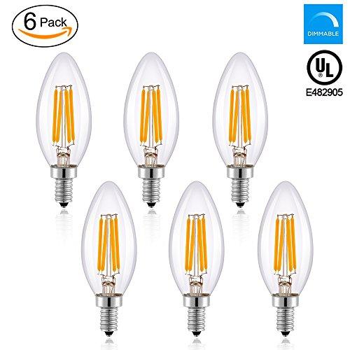 Worbest LED Candelabra Bulb 4W(40-Watt Equivalent) E12 Base Dimmable LED Candle Light 440LM, 2700K(Warm White), Clear Glass Torpedo Shape Bullet Top, 360 Degrees Beam Angle, Energy Saving UL Listed -
