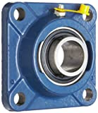 SKF FY 1. TF Ball Bearing Flange Unit, 4 Bolts, Setscrew Locking, Regreasable, Contact and Flinger Seal, Cast Iron, Inch, 1'' Bore, 2-3/4'' Bolt Hole Spacing Width, 3150lbf Dynamic Load Capacity