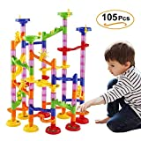 VI AI Marble Run Railway Toy,105 Pieces DIY Building Blocks Marble Runs Coaster Railway Construction Marble Game 4 Years Old Boys Girls Gift Toy