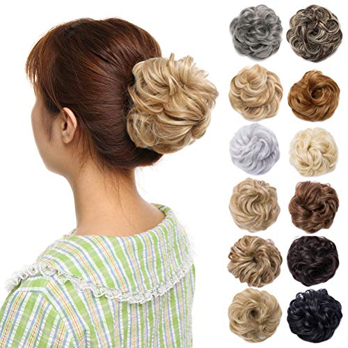 (Scrunchy Updo Wavy Straight Hair Bun Clip Messy Donut Chignons Synthetic Hairpiece Hair Extension (golden blonde & bleach blonde-thicker))