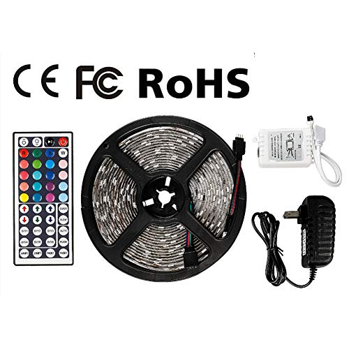 Z LED Strip Lights Waterproof Tape Lights Dimmable LED Lights Kit 16.4ft DC 12V 150 Units 5050 RGB LED TV Backlight Strip with 44 Key Remote Controller and Power Adapter for Home, Kitchen,Decoration by Z
