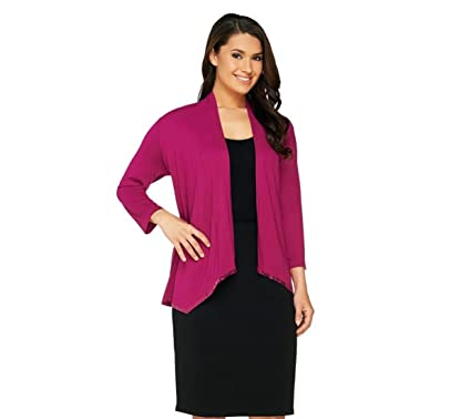 Joan Rivers Jersey Knit Waterfall Cardigan Sequin Border A262271 ...