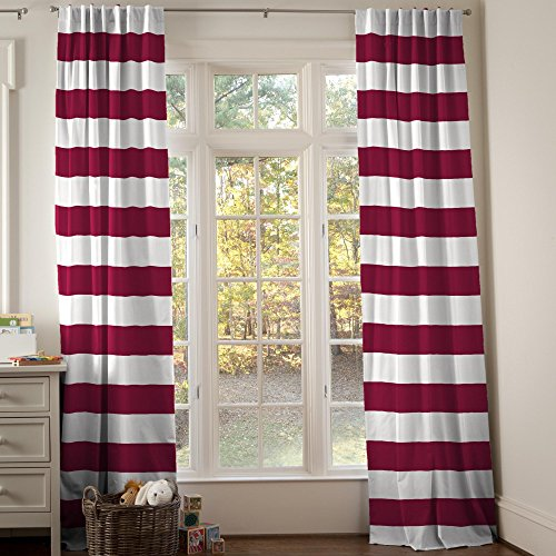 Carousel Designs Maroon Horizontal Stripe Drape Panel 96-Inch Length Standard Lining 42-Inch Width by Carousel Designs