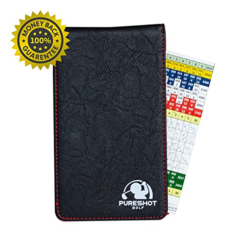 PureShot Golf Scorecard Holder & Yardage Book Cover | Hand Made with Premium Soft Synthetic Leather | Golf Training Aid