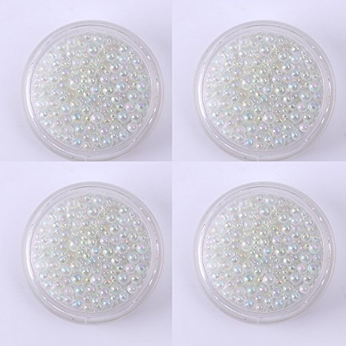 Magik Mini Bubble Beads 3D Nail Art Decoration Manicure 1-3mm Mixed Colorful DIY (4 Pack, Clear)