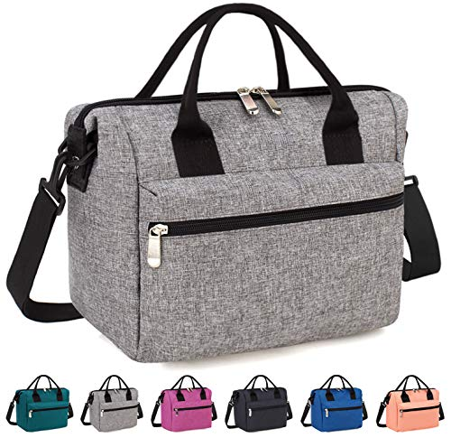 Insulated Lunch Bag Box with Adjustable Shoulder Strap, Water Resistant Leakproof Cooler Bag Lunch Container for Women/Men/Work/Picnic(Gray)