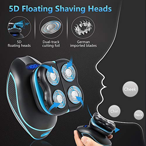 Electric Razor for Men, Waterproof Electric Shaver, 5D Floating Head Shavers for Bald Men, Beard Trimmer, 5 in 1 Rotary Shaver, Hair Clippers Nose Hair Trimmer Facial Cleansing & Exfoliating Brush