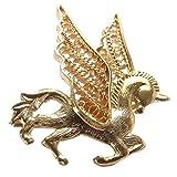 NOVICA .925 Yellow Gold Plated Silver Brooch Pegasus