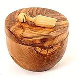 Hand-carved Olive Wood Salt Keeper and Scoop, Unique Wooden Set - Round Salt Bowl, Handcrafted Salt Cellar/ Wooden Salt Bowl Made From Olive Wood