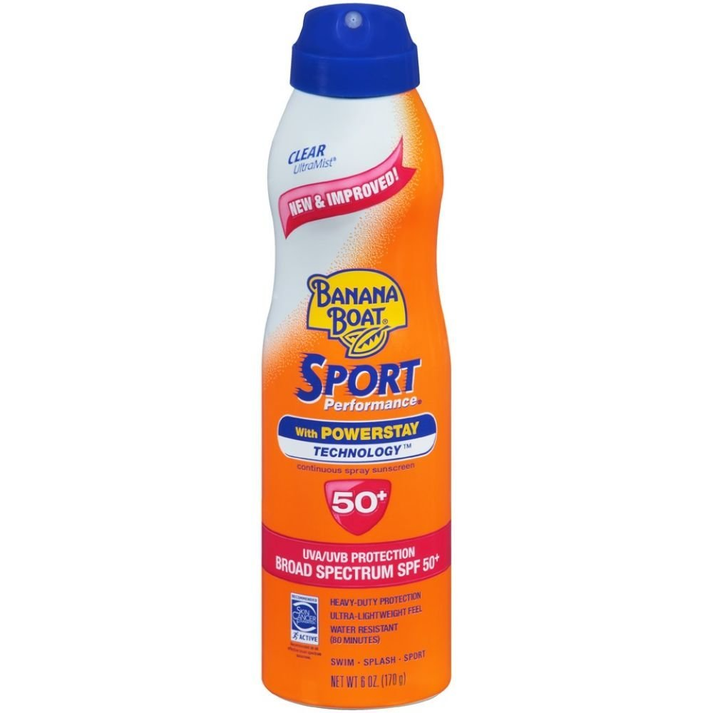 Banana Boat Sport Performance Clear UltraMist SPF 50 Plus Sunscreen Spray, 6 Fluid Ounce -- 12 per case. by Banana Boat