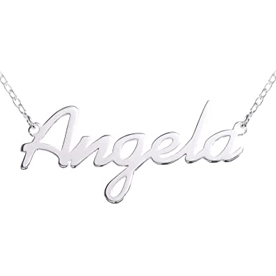 beed2c4452472 ANGELA Name Necklace 925 Sterling Silver Box Chain Pendant Gift + ...