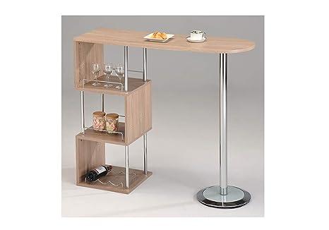 Meubletmoi tavolo alto da bar bancone piano di lavoro legno e
