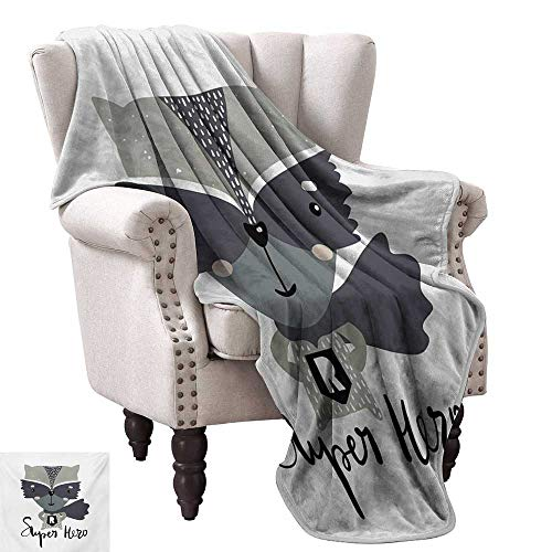 WinfreyDecor Nursery Reversible Blanket Cartoon Style Raccoon Super Hero with a Costume and Cape Childish Animal Design All Season Light Weight Living Room 50