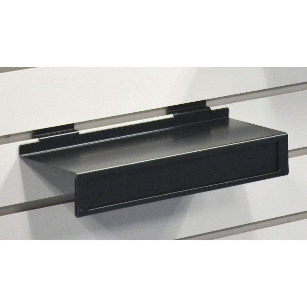 KC Store Fixtures A02100 Slatwall Shoe Shelf with Sign Holder Black Metal Pack of 10