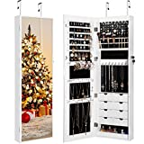 LANGRIA Full Length Mirror Jewelry Cabinet Organizer with 8 LED Lights, DIY Jewelry Armoire with Lockable Magnetic Door for Safe Storage of Cosmetics, Accessories, Makeup