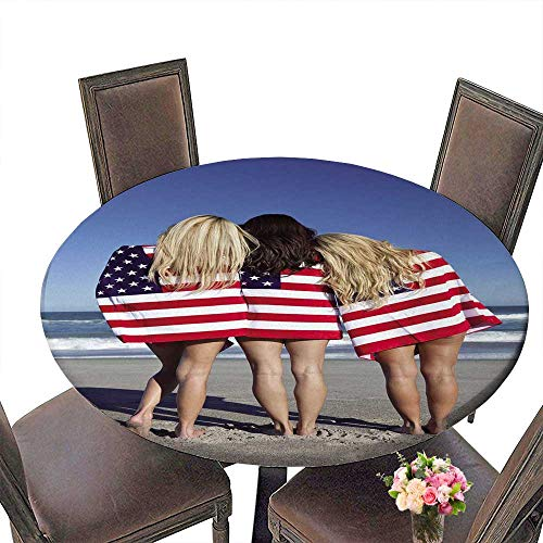 Placemat Spider Man 3 (PINAFORE Round Premium Table Three Beautiful Young Women Wearing Bikinis and Wrapped in American Flags on a sunnybeach for Indoor, Outdoor 40