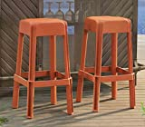 Sunjoy Polypropylene Stools (Set of 2), Orange For Sale