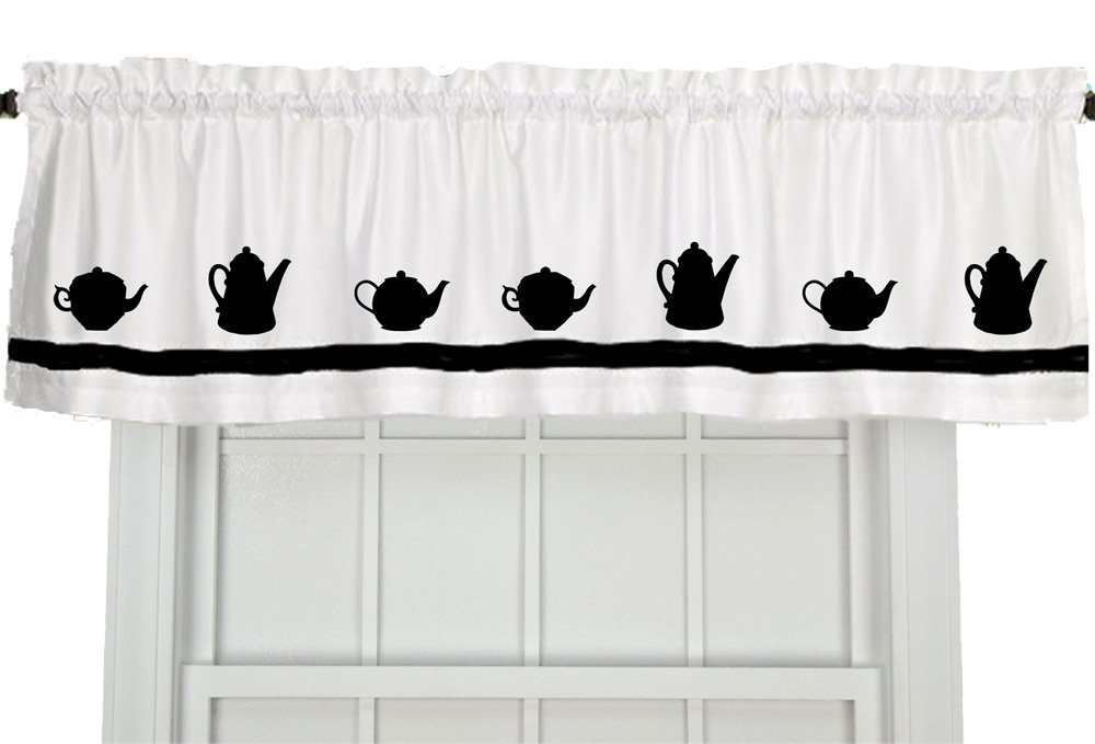 Teapot Window Valance Curtain - In Your Choice of Colors - Custom Made