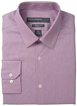 Perry Ellis Men's Textured Stripe Dress, Pink, 16/32-33