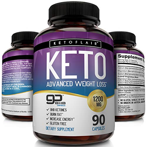 (Best Keto Diet Pills GoBHB 1200mg, 90 Capsules Advanced Weight Loss Ketosis Supplement - Natural BHB Salts (beta hydroxybutyrate) Ketogenic Fat Burner, Carb Blocker, Non-GMO - Best Weight Loss Support )