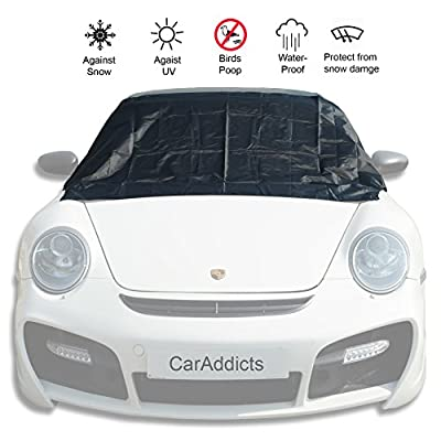 Latest Magnetic Edges Windshield Snow Cover Against Snow, Ice, Frost, Dust, water - No More Ice Scraping - Door Flaps Fits ALL Car,SUV,MPV,Truck, Van Black with Size S/L