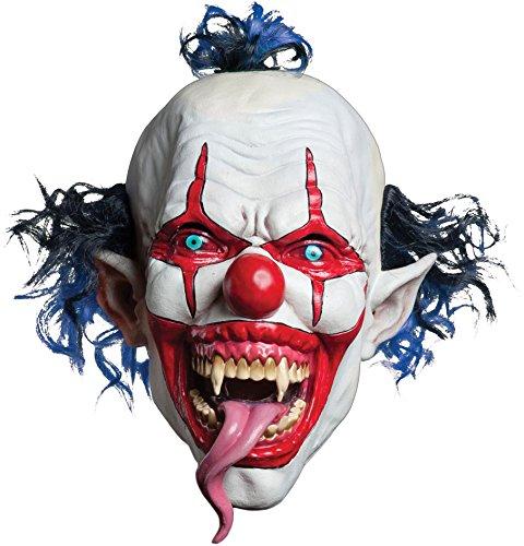Morbid Enterprises Snake Tongue Evil Clown Mask, Red/White/Blue, One Size]()
