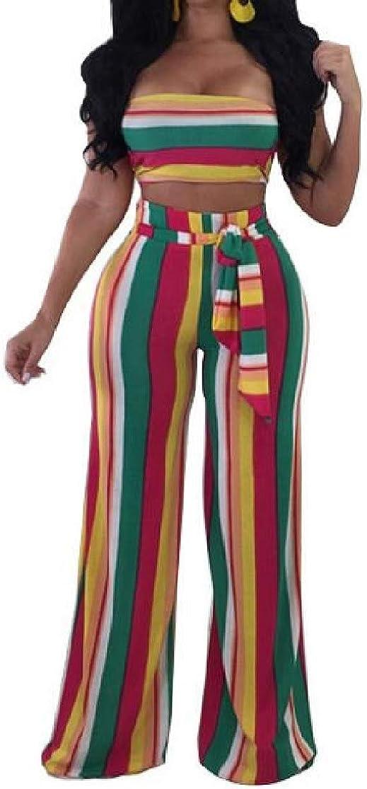 KLJR Women 2 Pieces Set Bandeau Tube Stripe Top and Wide Leg Pants Outfits