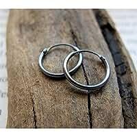 Dark Silver Hoops for Men - Small Unisex Huggie Earrings - Sterling Silver Black Hoops - Mens Earrings - Black Earrings for him