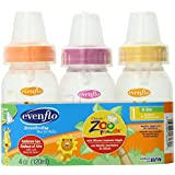 Evenflo Zoo Friends 3 Count Anatomic Nipple Bottle, 4 Ounce (Discontinued by Manufacturer)