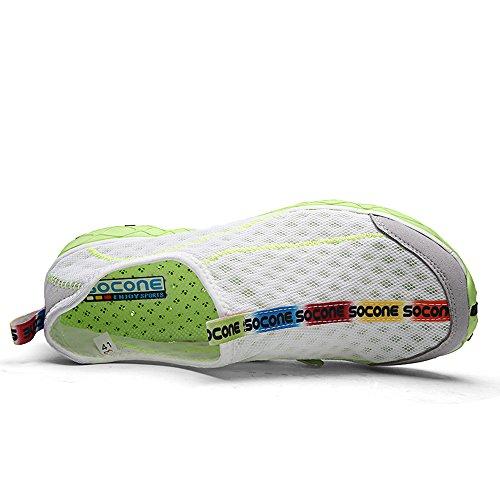 Creeker Zapatos Para Hombres Zapatillas De Malla Transpirable De Secado Rápido De Agua Blanco/Verde