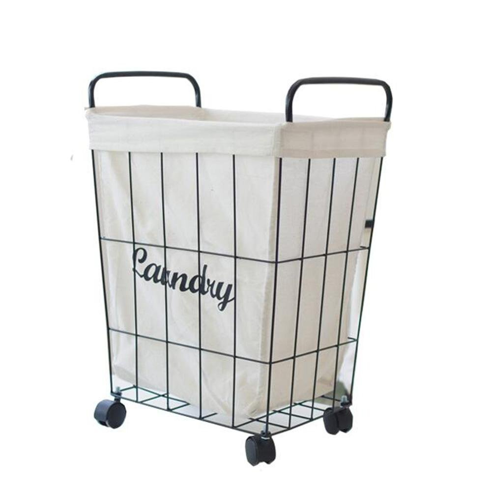 TSAR003 Scandinavian Style Iron Rack With Handle With Roller Laundry Hamper Or Basket Dirty Clothing Toy Storage Barrel