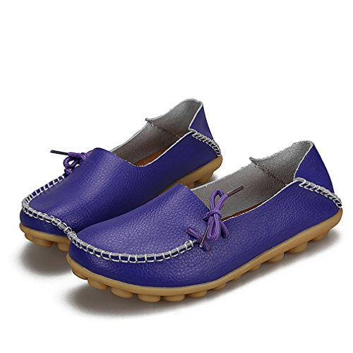 KEESKY Damen Leder Loafers Aushöhlen Casual Slip On Driving Schuhe 03 Lila
