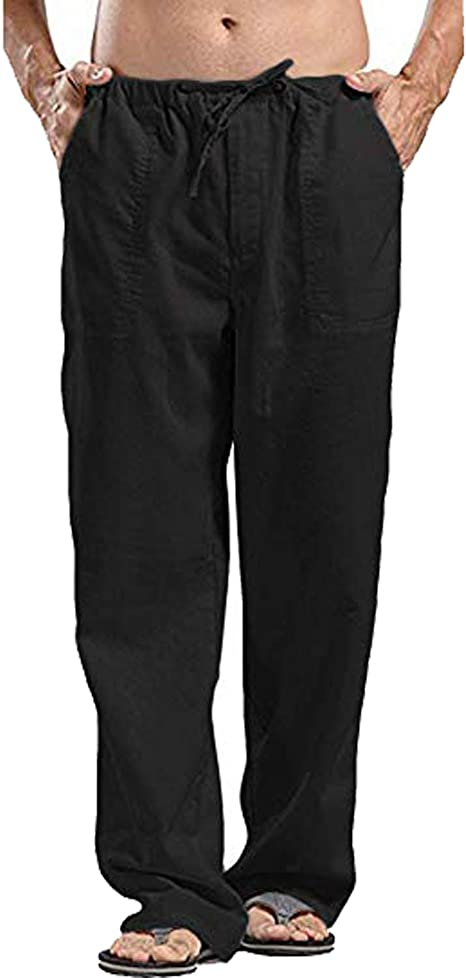UK Summer Men/'s Casual Cotton Linen Loose Trousers Long Baggy Beach Yoga Pants #